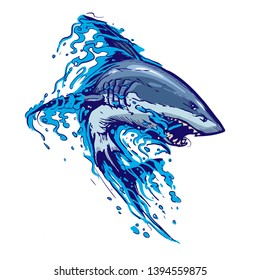 aggressive shark jump attack illustration. white background