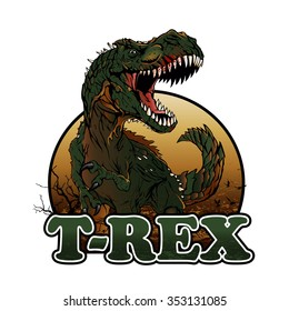 Aggressive t rex illustration