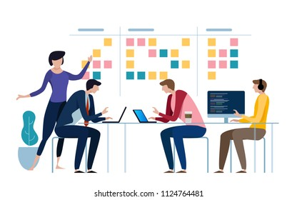 Agile business team of programmer working and make some planning on the scrum board. Whiteboard and process teamwork, scheme methodology. Vector illustration flat