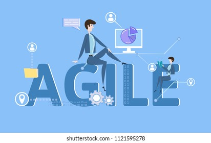 AGILE. Concept with keywords, letters and icons. Colored flat vector illustration on blue background.