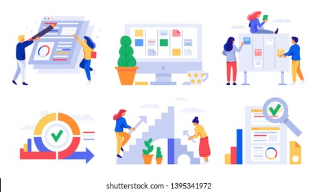 Agile development. Scrum board sprints, kanban management team tasks and business agility work strategy vector illustration set