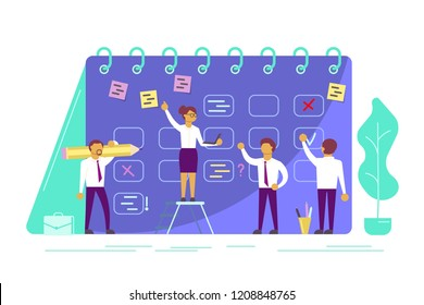 Agile development with scrum kanban board. Planning schedule concept vector illustration. Business team characters developing plan to meet business goals. Flat style design.