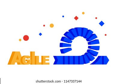 Agile Development (scrum, kanban, devops). Symbol concept. Flat illustration. Separate objects. Isolate.