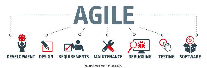 Agile development software business web computer agility concept. Vector illustration with icons