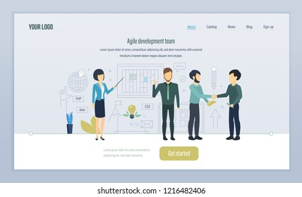 Agile development team. Software development in high-level languages. Programming, coding, integrated approach to tasks, teamwork interaction. Landing page template. Vector illustration.