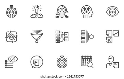 Agile Development Vector Line Icons Set. Production Management, Project Quality Control, Scrum Master. Editable Stroke. 48x48 Pixel Perfect.