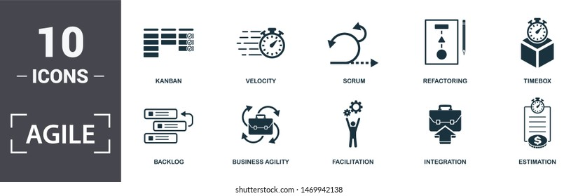Agile icon set. Contain filled flat Backlog ,Business Agility ,Estimation ,Facilitation ,Integration ,Kanban ,Refactoring ,Scrum ,Timebox ,Velocity icons. Editable format.