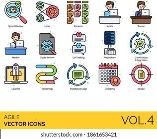 Agile icons including sprint review, lean, kanban, junior, senior, medior, code, QA testing, repository, continuous integration, launch, roadmap, feedback loop, deadline, scope.