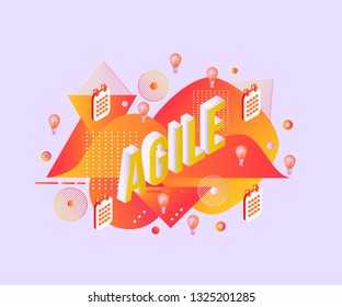 Agile isometric gradient text design with calendars and light bulbs on abstract geometric fluid yellow and red colors shapes and textures in isolated vector illustration.