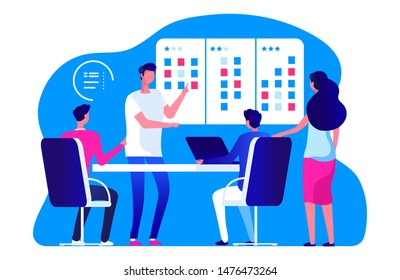 Agile management team. Vector business team meeting and scrum task board. People are planning work process. Illustration project meeting, business team scrum board