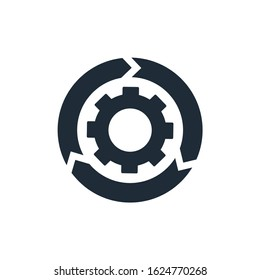 Agile process . Gear, arrow, circle, cycle. Agile development concept. Vector icon isolated on white background.