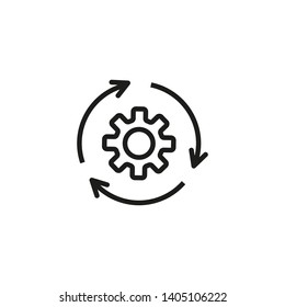 Agile process line icon. Gear, arrow, circle, cycle. Agile development concept. Vector illustration can be used for topics like update, technology, engine