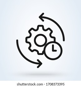 Agile process line icon. Gear and arrow. Linear vector illustration