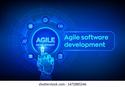 Agile software development methodology concept on virtual screen. Digital technology, big data concept. Flexible developing process. Robotic hand touching digital interface. Vector illustration.