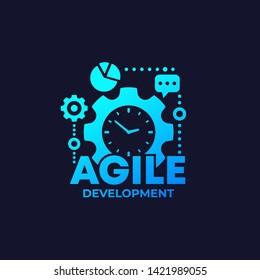 Agile software development process icon on dark