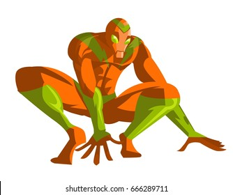 agile superhero crawling