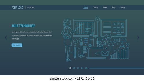 Agile technology. Agile software development, planning of business, simplification of organizational processes, control of workflow, improving efficiency. Website template design. Vector illustration.