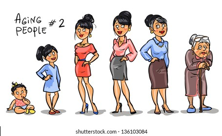 Aging people  - set 2, Women at different ages. Hand drawn cartoon women, family members isolated, sketch