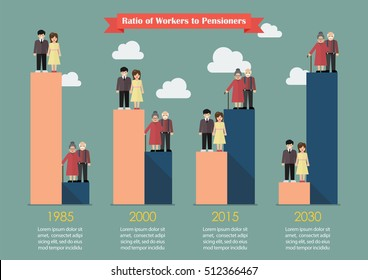 Aging population with worker trend. Vector illustration