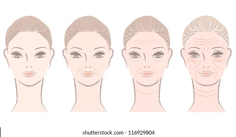 Aging process of close up beautiful woman. Isolated on white.