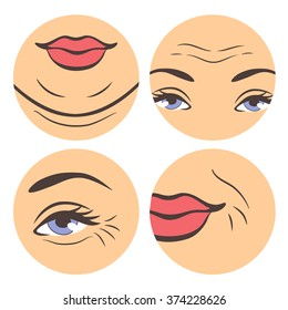 Aging troubles set. Vector illustration of places where wrinkles appear in the first. Instruction about first wrinkles in circle shapes.