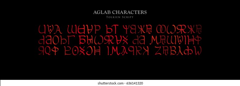 AGLAB CHARACTERS - Tolkien Script on black background - Vector Image