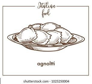 Agnolotti pasta sketch vector icon for Italian cuisine food menu design