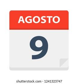 Agosto 9 - Calendar Icon - August 9 - Vector Illustration