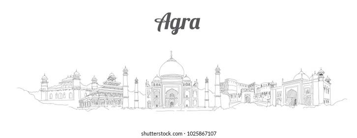 AGRA city panoramic vector hand drawing artwork