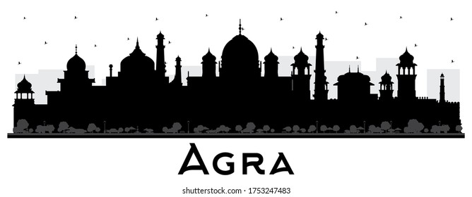 Agra India City Skyline Silhouette with Black Buildings Isolated on White. Vector Illustration. Tourism Concept with Historic Architecture. Agra Uttar Pradesh Cityscape with Landmarks.