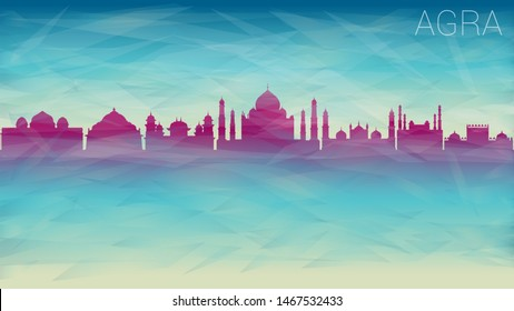 Agra India City Skyline Vector Silhouette. Broken Glass Abstract Geometric Dynamic Textured. Banner Background. Colorful Shape Composition.