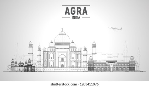 Agra India skyline with panorama in white background. Vector Illustration. Business travel and tourism concept with modern buildings. Image for banner or web site.