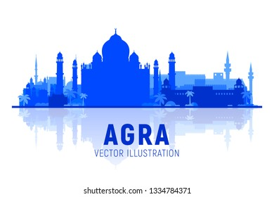 Agra India skyline silhouette with panorama at white background. Vector Illustration. Business travel and tourism concept with modern buildings. Image for banner or web site