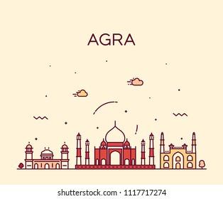 Agra skyline, India. Trendy vector illustration, linear style