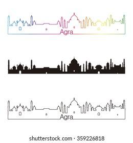 Agra skyline linear style with rainbow in editable vector file