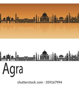 Agra skyline in orange background in editable vector file