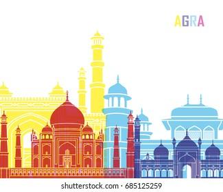 Agra skyline pop in editable vector file