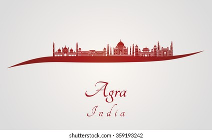 Agra skyline in red and gray background in editable vector file