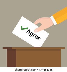agree check mark choice vote hand putting a ballot paper in a slot of box