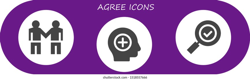 agree icon set. 3 filled agree icons.  Simple modern icons about  - Deal, Positive, Check mark