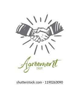 Agreement, business, handshake, partnership, deal concept. Hand drawn people shaking hands concept sketch. Isolated vector illustration.