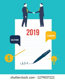 Agreement. Business people standing on a signed contract. Concept business vector illustration - Vector