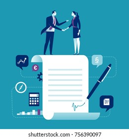 Agreement. Business people standing on a signed contract. Concept business vector illustration