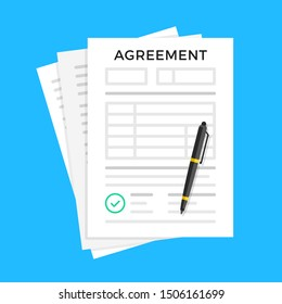 Agreement. Document with green check mark and pen. Flat design. Vector illustration