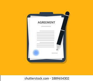 Agreement. Documents with pen on a black folder in a flat style. Contract with a seal. Contract.