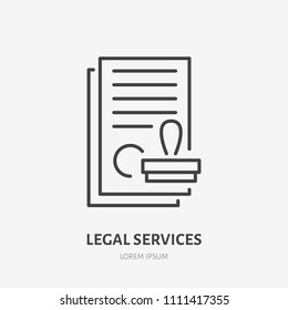 Agreement flat line icon. Paper documents with stamp sign. Thin linear logo for legal financial services, accountancy.