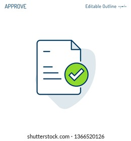 Agreement icon, Quality control document, Document Compliance, Check list, Tick mark, Corporate Business office files, Editable stroke