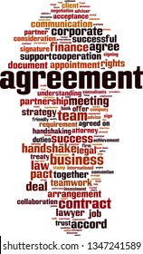 Agreement word cloud concept. Collage made of words about agreement. Vector illustration