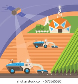 Agribots machines working in the field using GPS signal from satellite and network connection. Farmer uses Precision Agriculture technologies to improve productivity and reduce crop losses. Vector