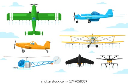 Agricultural aviation. Crop duster aircrafts spraying chemicals set. Airplane, biplane, monoplane, helicopter, drone spraying pesticides agricultural aviation collection